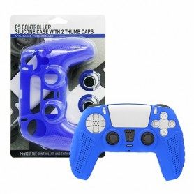 Controller Silicon case (blue) + 2 Thumb caps PS5