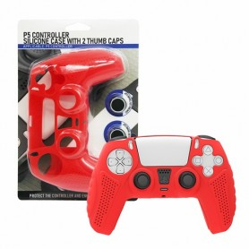 Controller Silicon case (red) + 2 Thumb caps PS5