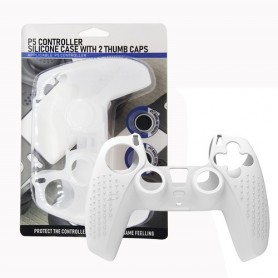 Controller Silicon case (white clear) + 2 Thumb caps PS5
